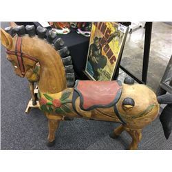 CARVED WOODEN CARROUSEL HORSE, APPROX. 4' TALL