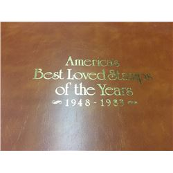 STAMP ALBUM 'AMERICA'S BEST LOVED STAMPS OF THE YEARS 1948-1983' CONTAINS APPROX. 40 DOUBLE