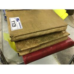 3 VERY OLD STAMP ALBUMS, APPROX. 10% FULL, SOME MOLD ON PAGES (OPEN WITH EXTREME CAUTION)