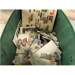 BIN OF ASSORTED LOOSE STAMPS