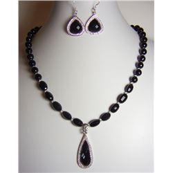 Blue River Studio - Black Onyx/White Topaz Necklace and Earrings