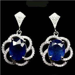 PAIR OF STERLING SILVER BLUE SAPPHIRE EARRINGS