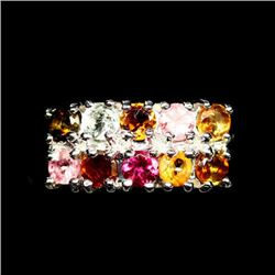 STERLING SILVER TOURMALINE LADIES RING - SIZE 5.25