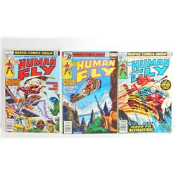 LOT OF 3 VINTAGE HUMAN FLY COMIC BOOKS - 1978 & 1977
