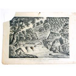 1797 ORIGINAL PRINT SALMON LEAP, KENARTH CARDIGANSHIRE