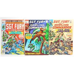 LOT OF 3 VINTAGE SGT. FURY COMIC BOOKS - 1967, 1970, 1977