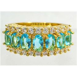 GOLD FILLED BLUE AQUAMARINE LADIES RING - SIZE 7