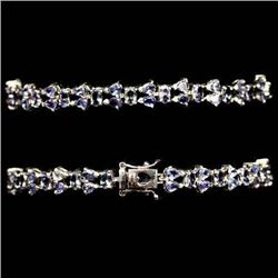 WHITE GOLD OVER STERLING SILVER TANZANITE BRACELET