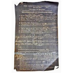 1929 PERE MARQUETTE RAILWAY COMPANY APPLICATION FORM