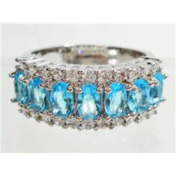 WHITE GOLD FILLED AQUAMARINE LADIES RING - SIZE 7