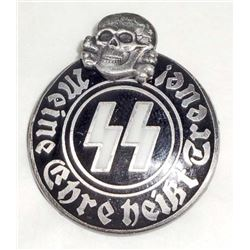 GERMAN NAZI WAFFEN SS SKULL & RUNIC MEMBER BADGE