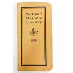 1925 VINTAGE PORTLAND MASONIC DIRECTORY