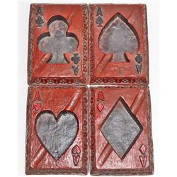 SET OF FOUR CARVED WOOD PLAYING CARDS ASHTRAYS