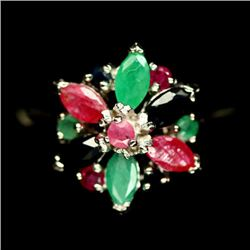 STERLING SILVER RUBY, EMERALD & SAPPHIRE LADIES RING - SIZE 8.75