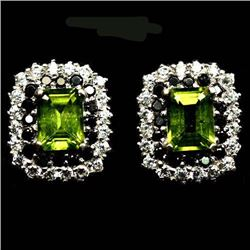 PAIR OF STERLING SILVER GREEN PERIDOT EARRINGS