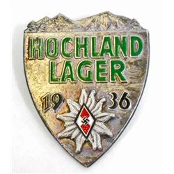 GERMAN NAZI HITLER YOUTH H HOCHLAND LAGER BADGE