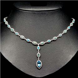 STERLING SILVER SKY BLUE TOPAZ & APATITE NECKLACE