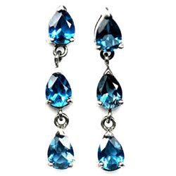 PAIR OF STERLING SILVER BLUE TOPAZ EARRINGS