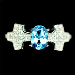 STERLING SILVER SKY BLUE TOPAZ LADIES RING - SIZE 6
