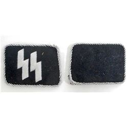PAIR OF GERMAN WAFFEN SS OFFICERS COLLAR TABS