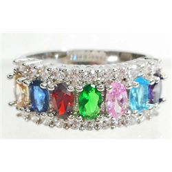 WHITE GOLD FILLED GEMSTONE LADIES RING - SIZE 7