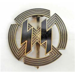 GERMAN NAZI BRONZE WAFFEN SS RUNIC BADGE