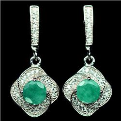 PAIR OF STERLING SILVER EMERALD EARRINGS