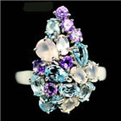 STERLING SILVER SKY BLUE TOPAZ, AMETHYST & QUARTZ LADIES RING - SIZE 8.75