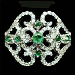 STERLING SILVER GREEN EMERALD LADIES RING - SIZE 7.5