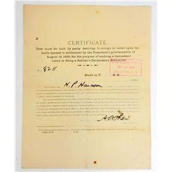 1893 GENERAL CERTIFICATE FOR SETTLEMENT