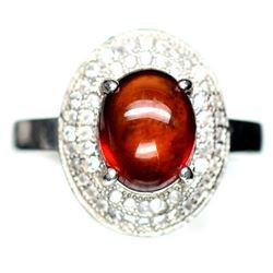 STERLING SILVER ORANGE HESSONITE GARNET LADIES RING - SIZE 7.5