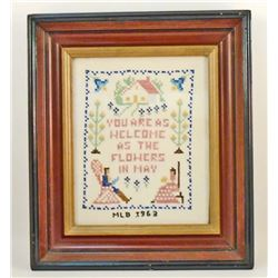1963 CROSS STITCH SAMPLER - FRAMED