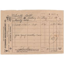 Original Lucille Ball Signed Receipt