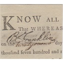 Benjamin Franklin Cut Signature