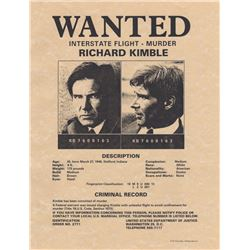 "Prop ""WANTED"" Poster of Richard Kimble (Harrison Ford) from The Fugitive"
