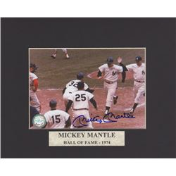 Mickey Mantle Signed Game Photo