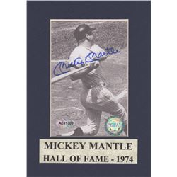 Mickey Mantle Signed Black & White At-Bat Photo