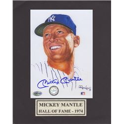 Mickey Mantle Signed Photo of Ron Lewis Artwork