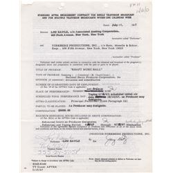 Lou Rawls Signed AFTRA Engagement Contract