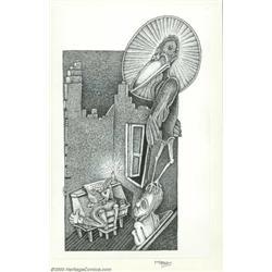 Maxon Crumb - Original Book Illustration (1997).   Maxon's Poe, page 16, for  The Raven.<B...