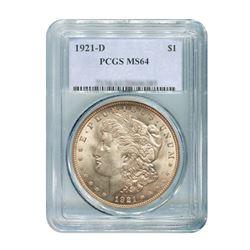 1921-D $1 Morgan Silver Dollar - PCGS MS64