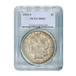 1921-S $1 Morgan Silver Dollar - PCGS MS64