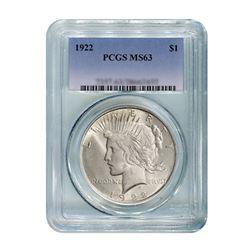 1922 $1 Peace Silver Dollar - PCGS MS63