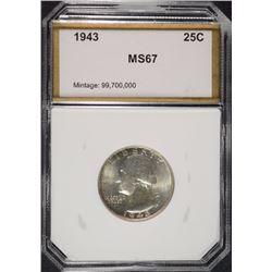 1943 WASHINGTON QUARTER PCI SUPERB GEM BU
