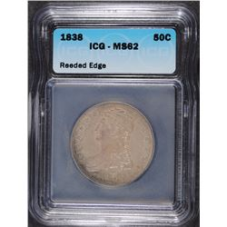 1838 REEDED EDGE HALF DOLLAR, ICG MS-62