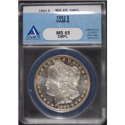 1883 MORGAN SILVER DOLLAR, ANACS MS-65 DMPL