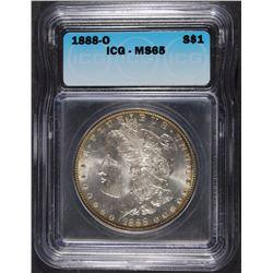1888-O MORGAN SILVER DOLLAR, ICG MS-65