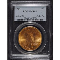 1924 $20.00 ST. GAUDENS GOLD, PCGS MS-65 GEM!