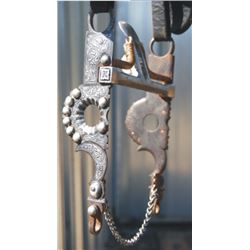 silver inlaid spade on spotted headstall