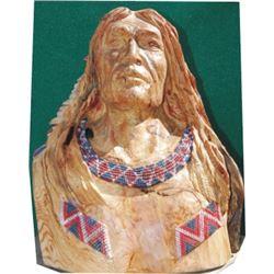 Stan Grojtan carved Indian brave bust